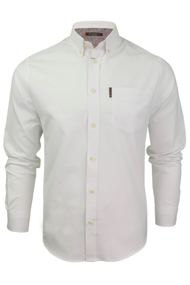 BEN SHERMAN Long Sleeved Oxford Shirt - White